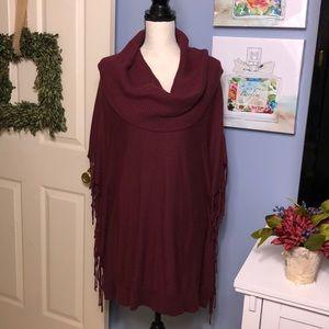 Michael Kors merlot fringed cowl-neck sweater